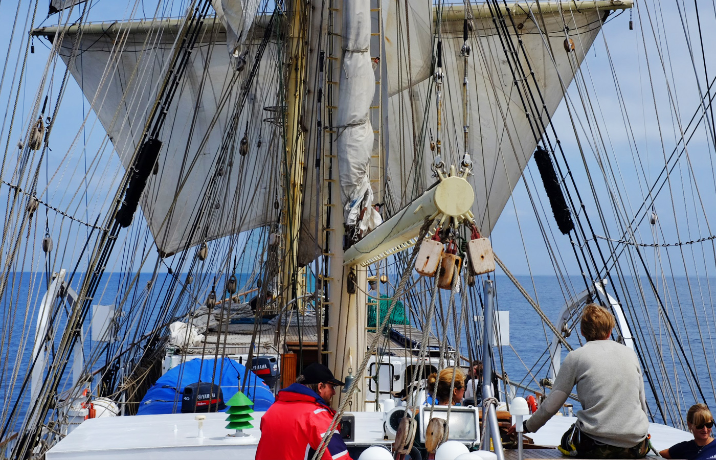 Image of crew on a sailing ship. Image links to Sail for teachers.