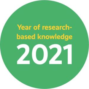A circle with the text Year of research-based knowledge 2021.