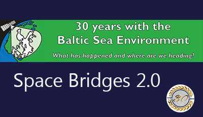 Blue image with text Space Bridges 2.0. 30 years with Baltic Sea Environment .
