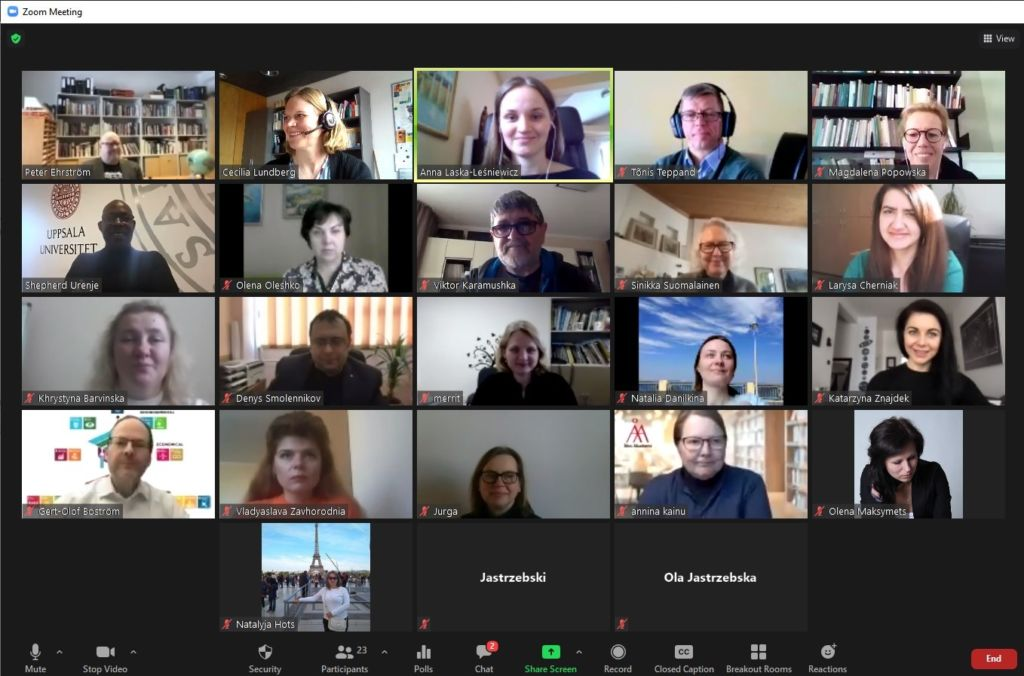 Screenshot from a zoom meeting, gallery of participants.